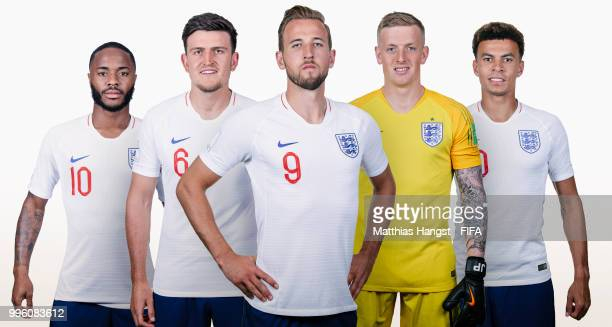 In this composite image Raheem SterlingHarry Maguire Harry KaneJordan Pickford and Dele Alli of England pose for a portrait during the official FIFA...