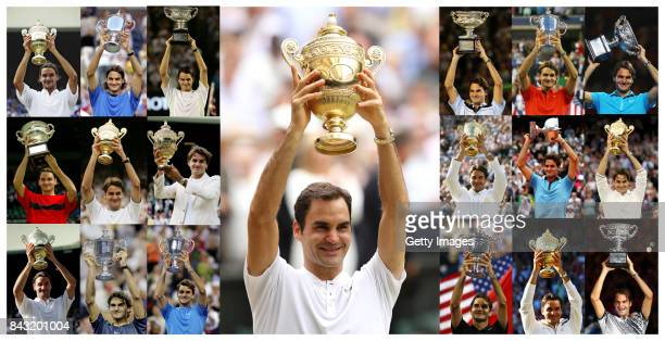 In this composite image , Roger Federer holds up the trophy for each of his nineteen men's singles grand slam titles from the first Wimbledon 2003 to...