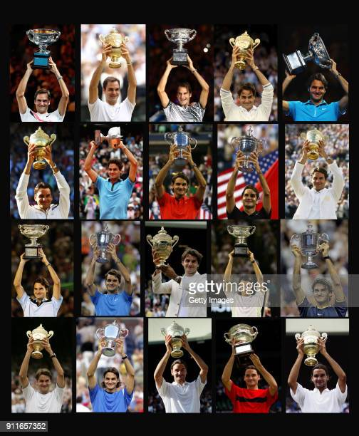 In this composite image , Roger Federer holds up the trophy for each of his twenty men's singles grand slam titles from the first Wimbledon 2003 to...