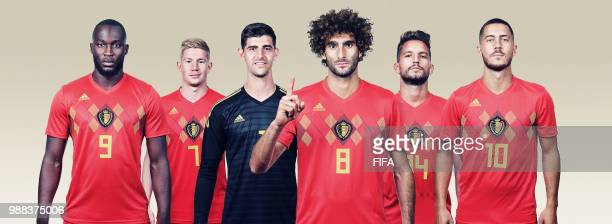 In this composite image, Romelu Lukaku, Kevin De Bruyne, Thibaut Courtois, Marouane Fellaini, Dries Mertens, Eden Hazard of Belgium pose for a...