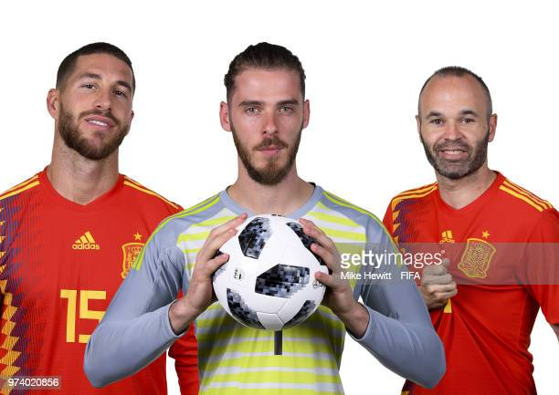 In this composite image Sergio Ramos David de Gea and Andres Iniesta of Spain pose for a portrait during the official FIFA World Cup 2018 portrait...