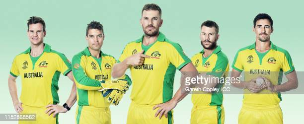 In this composite image Steven Smith Alex Carey Aaron Finch David Warner Mitchell Starc of Australia pose for a portrait prior to the ICC Cricket...