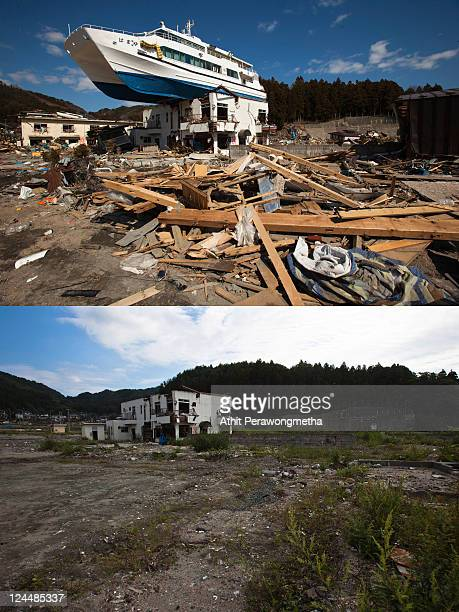 In this composite image the devastated town of Otsuchi is seen prior to the sixth month anniversary of the March 11 earthquake and massive tsunami on...