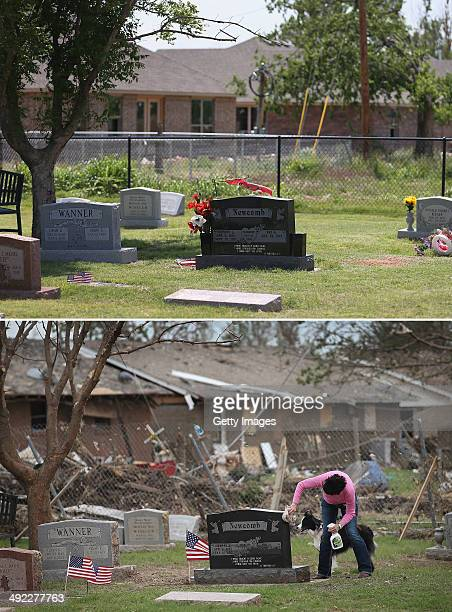 In this composite image the grave site is seen one year after the damage seen in the image below as the town prepares for Tuesdays one year...