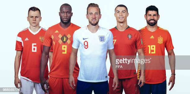 In this composite image the leading contenders in the race for the adidas Golden Boot at the 2018 FIFA World Cup Russia pose for a picture Denis...