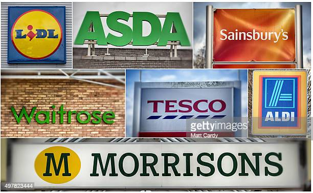 In this composite image the logos of the UK's leading supermarkets Lidl Asda Sainsbury's Waitrose Tesco and Aldi and bottom row Morrisons are...