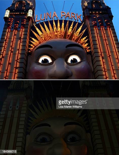 In this composite image the Luna Park entrance is seen before on March 21 and after the lights were switched off to recognize Earth Hour on March 23...