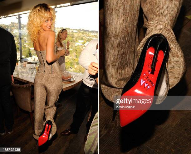 In this composite image the right image shows a crop of the shoe detail Rihanna attends the 4th Annual Roc Nation PreGRAMMY brunch at Soho House on...