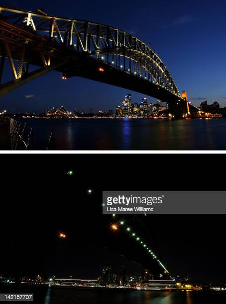 In this composite image the Sydney Harbour Bridge is seen before on March 30 2012 and after the lights are switched off for Earth Hour on March 31...