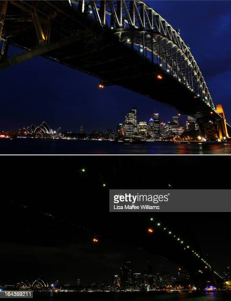 In this composite image the Sydney Harbour Bridge is seen before on March 21 and after the lights were switched off to recognize Earth Hour on March...