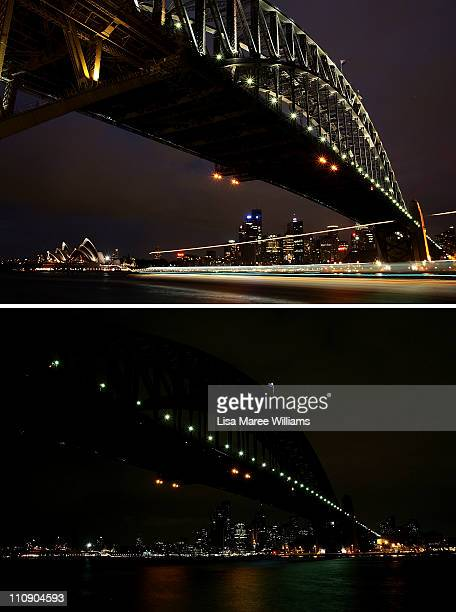 In this composite image, the Sydney Skyline is seen before and after the lights are switched off for Earth Hour on March 26, 2011 in Sydney,...