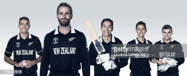 In this composite image Tim Southee Kane Williamson Ross Taylor Trent Boult Tom Latham of New Zealand pose for a portrait prior to the ICC Cricket...
