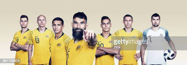 In this composite image Tomi Juric Aaron MooyTim CahillMile Jedinak Trent Sainsbury Mark MilliganMathew Ryan of Australia pose for a portrait during...