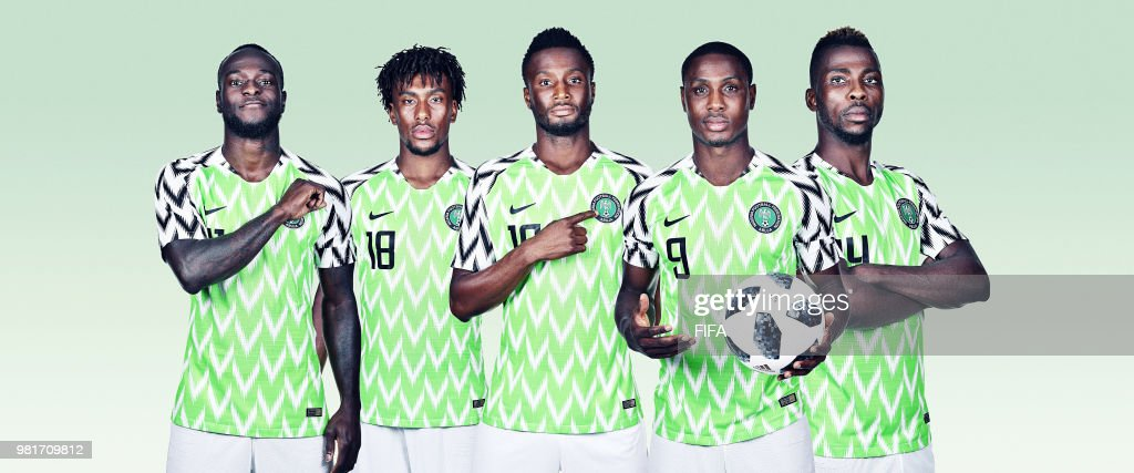 In this composite image, (L-R) Victor Moses,Alex Iwobi,Mikel John Obi,Odion Ighalo,Kelechi Iheanacho of Nigeria pose for a portrait during the official FIFA World Cup 2018 portrait session on June 12, 2018 in Yessentuki, Russia.