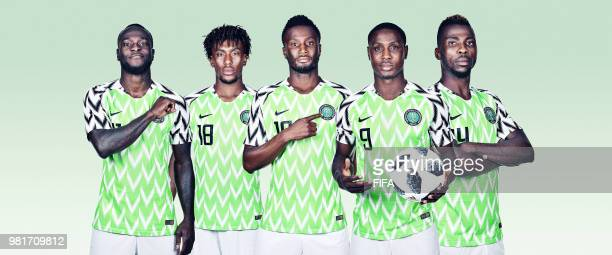 In this composite image, Victor Moses,Alex Iwobi,Mikel John Obi,Odion Ighalo,Kelechi Iheanacho of Nigeria pose for a portrait during the official...