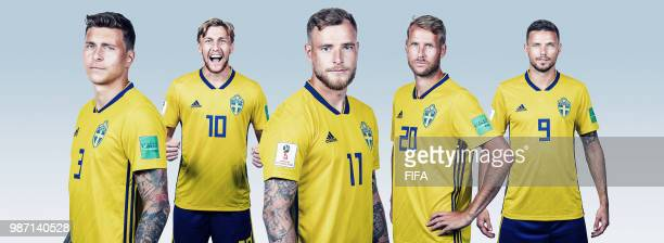 In this composite image Victor Nilsson Lindeloef Emil Forsberg John Guidetti Ola Toivonen and Markus Berg of Sweden pose for a photograph during the...
