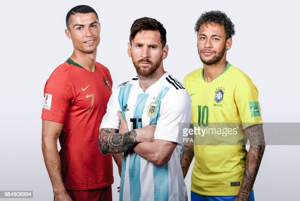 In this composite imageLionel Messi of ArgentinaCristiano Ronaldo of PortugalNeymar of Brazil pose for a portrait during the official FIFA World Cup...