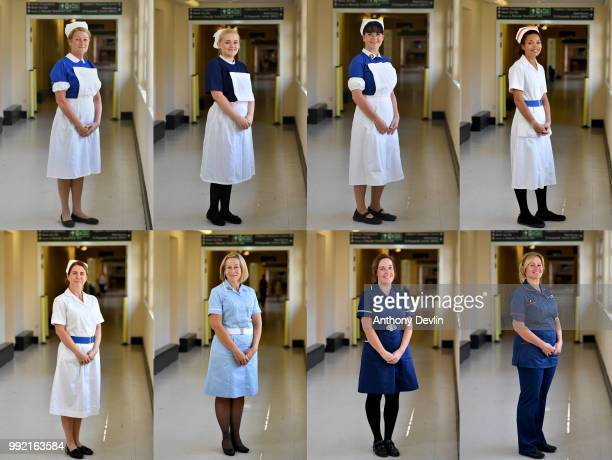 In this composite nurses in uniforms to represent each decade of the NHS Serena Hurst1940s Natalie Lancaster 1950s Amanda Whiteout 1960s Jemina...