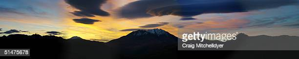 In this composite of five images the sun rises over Mt St Helens October 12 2004 the Elk Rock Viewpoint Steam eruptions increased during the day and...