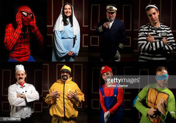In this composite of images fans pose for a portrait during Day Six of the 2019 William Hill World Darts Championship at Alexandra Palace on December...