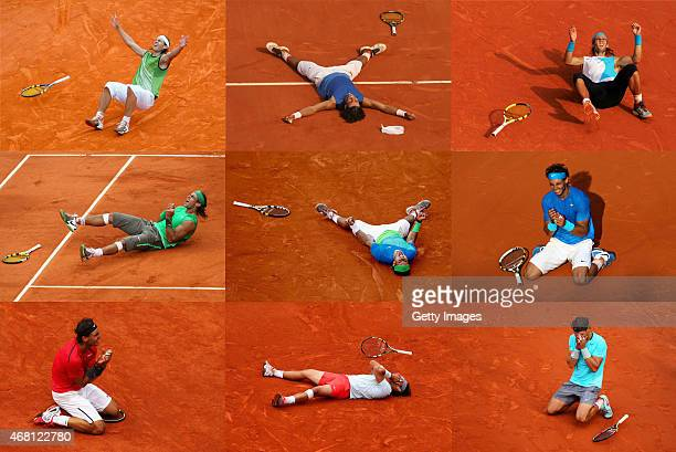 In this composite of images Rafael Nadal can be seen celebrating during a match at each of his 9 Roland Garros French Open tennis victories. By...