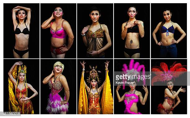 In this composite of ten pictures Chinese drag queens from top and bottom row Wudi Mianbao BaomeiCaomei and Shuangshuang pose in costumes on January...