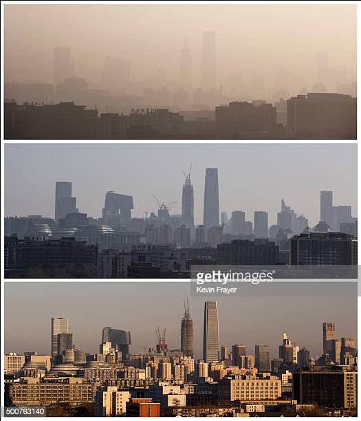 In this composite of three images a view of the the skyline of the city can be seen from top to bottom as severe smog lifted from morning in haze at...