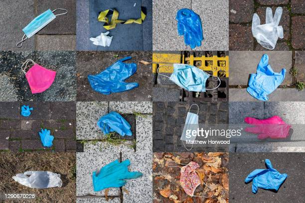 In this composite photo, a collection of surgical gloves and masks are left discarded on the floor during the coronavirus lockdown on December 10,...