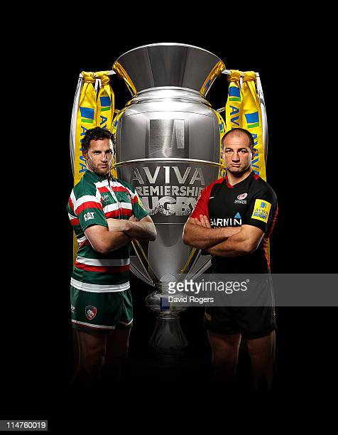 In this composite photo illustration Captains Craig Newby of Leicester Tigers and Steve Borthwick of Saracens pose ahead of the AVIVA Premiership...