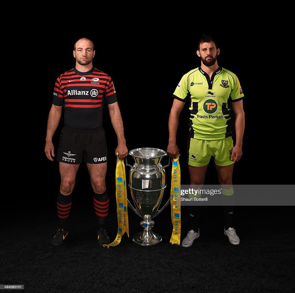 In this composite photo illustration, Steve Borthwick of Saracens (left) and Tom Wood of Northampton Saints (right) pose with the Aviva Premiership Trophy. Saracens will play Northampton Saints in the Aviva Premiership Final at Twickenham on Saturday 31st May 2014