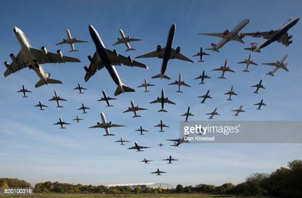 In this composite photo Planes take off from Heathrow Airport on November 2 2016 in London England A total of 42 planes were captured taking off from...