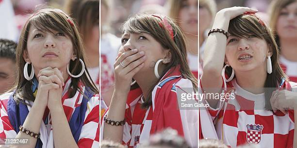 In this composite picture a young Croatia supporter reacts to play while watching the Group F World Cup 2006 match between Japan and Croatia on a...