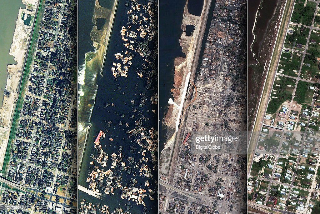 IMAGE) In this composite satellite image, The Lower 9th Ward is seen (L-R) January 7, 2003 prior to hurricane Katrina, August 31, 2005 upon the levee being breeched, September 21, 2005 after the waters receded, and April 16, 2011 during the rebuilding efforts in New Orleans, Louisiana.