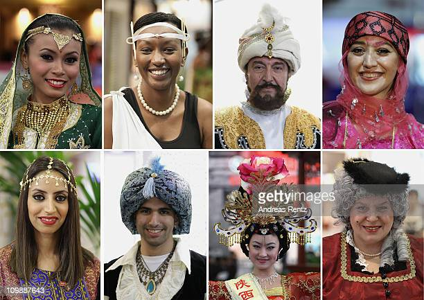 In this composition women and men dressed up in traditional clothes of Malaysia Rwanda Uzbekistan and Iran and from Kuwait Oman China and Germany...