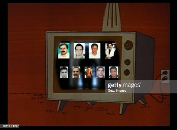 In this computer screen shot portraits showing murdered Turkish businessmen are seen in a DVD reportedly produced by neoNazis Uwe Mundlos and Uwe...