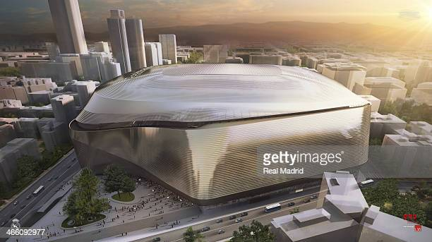 In this computer-generated artists impression provided by Real Madrid, the winning international tender for the new Benabeu Stadium is shown during...