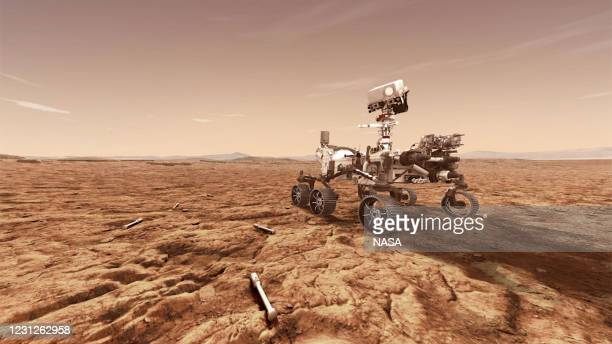 In this concept illustration provided by NASA, NASA's Perseverance rover will store rock and soil samples in sealed tubes on the planet's surface for...
