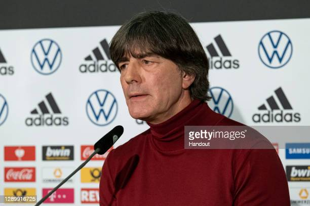 In this DFB handout, Joachim Loew the Head coach of the German national team is seen during a press conference at DFB Headquarters on December 07,...
