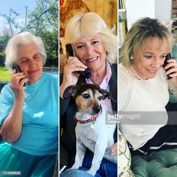 In this digital composite handout image provided by Clarence House Camilla Duchess of Cornwall speaks to Silver Line user Betty and the helpline's...