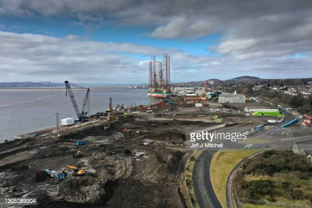 In this drone photo - A general view of the port and dockside area on March 04, 2021 in Dundee, Scotland. The UK Chancellor, Rishi Sunak, announced...