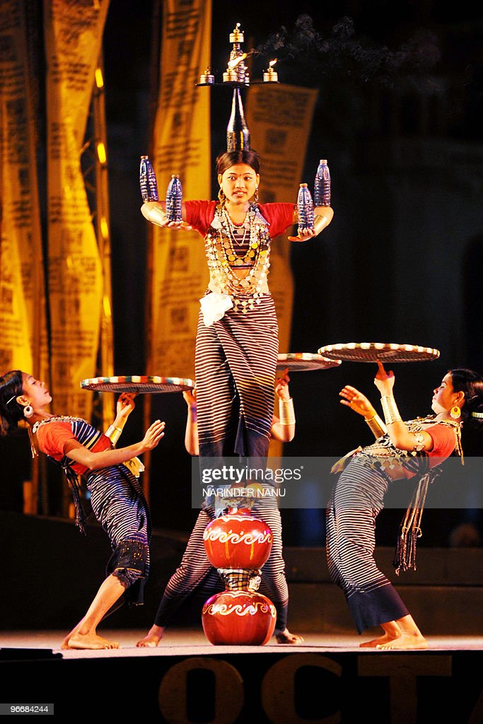 In this February 13 2010 photograph dancers from the Indian state of Tripura perform during the opening ceremony of the Octave 2010 Festival at...