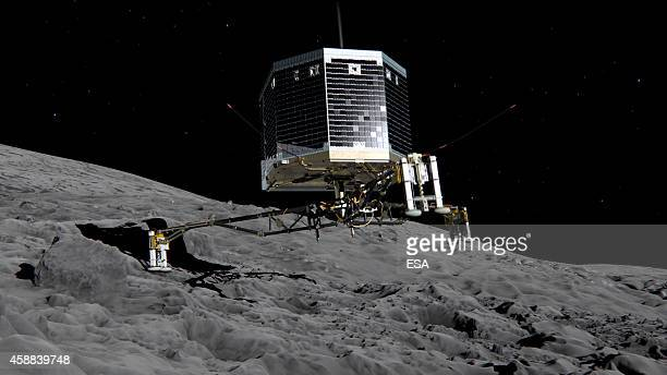 In this February 17 2014 handout photo illustration provided by the European Space Agency the Philae lander is pictured descending onto the...