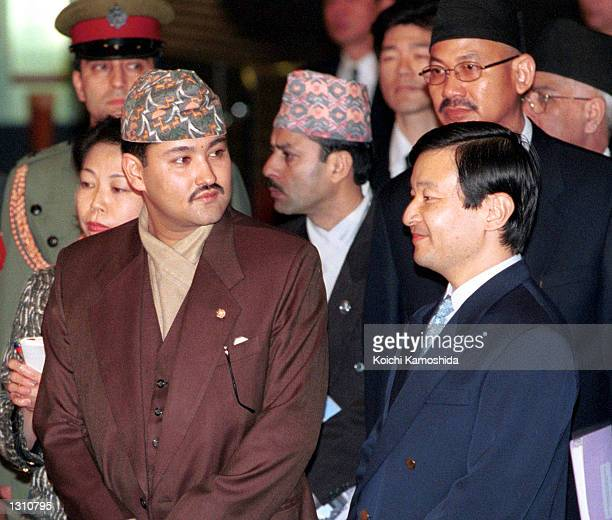 In this file photo dated April 26 Nepalese Crown Prince Dipendra Bir Bikram Shah Dev left talks with Japanese Crown Prince Naruhito in Tokyo Dipendra...