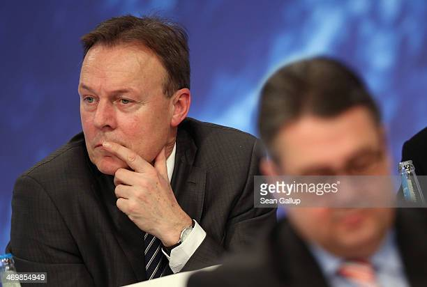 In this file photo dated January 26 Thomas Oppermann , head of the Bundestag faction of the German Social Democrats , and SPD Chairman Sigmar Gabriel...