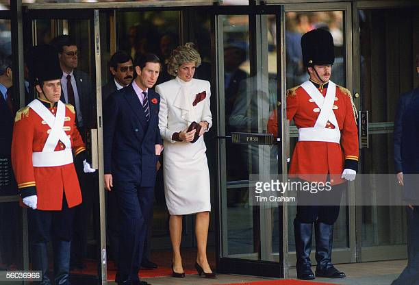 In this file photo issued October 31 the Prince and Princess of Wales visit the JC Penny story on November 10, 1985 in Washington, DC. Prince...
