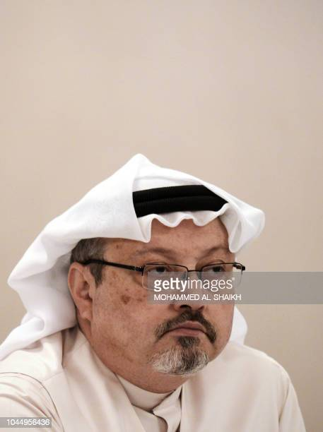 In this file photo taken on December 15 general manager of Alarab TV Jamal Khashoggi looks on during a press conference in the Bahraini capital...