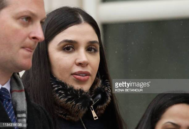 In this file photo taken on February 12, 2019 Emma Coronel Aispuro, wife of Joaquin 'El Chapo' Guzman leaves from the US Federal Courthouse after a...