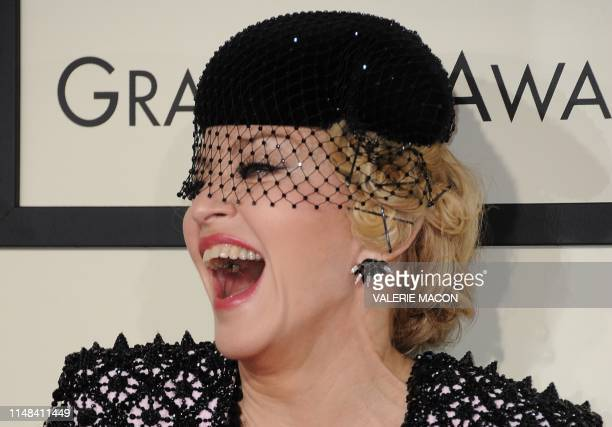 In this file photo taken on February 8, 2015 Seven-time Grammy winner Madonna arrives on the red carpet for the 57th Annual Grammy Awards in Los...