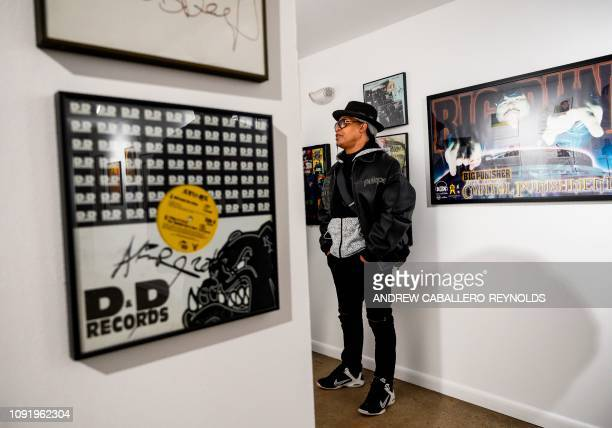 In this file photo taken on January 19 2019 Melvin Glover aka Melle Mel looks at HipHop memorabilia at the HipHop Museum Pop Up Experience in...
