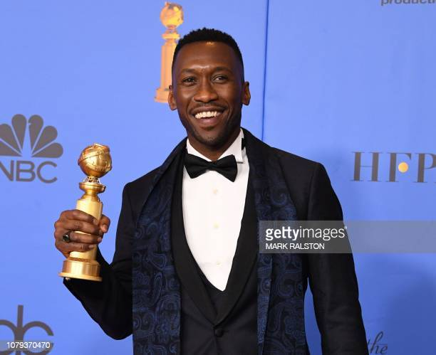 "In this file photo taken on January 6, 2019 Best Actor in a Supporting Role in any Motion Picture for ""The Green Book"" winner Mahershala Ali poses..."